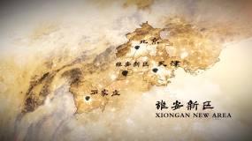 原創北京天津河北雄安新區復古水墨地圖AE模板