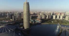 鄭州鄭東新區千禧廣場玉米樓如意湖航拍4K視頻素材