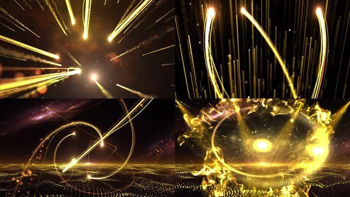 三維黃金粒子背景