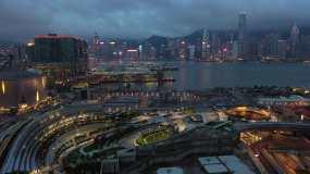 香港西九龙高铁站夜景航拍视频素材