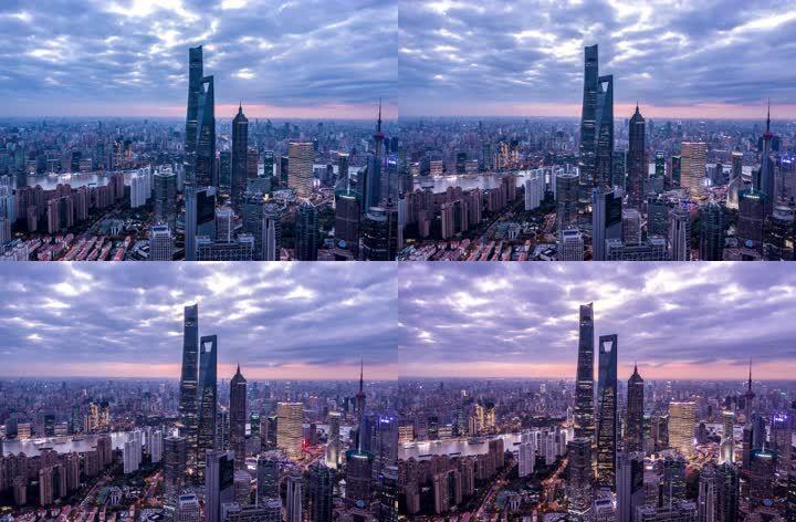 上海陆家嘴6K夜景延时航拍