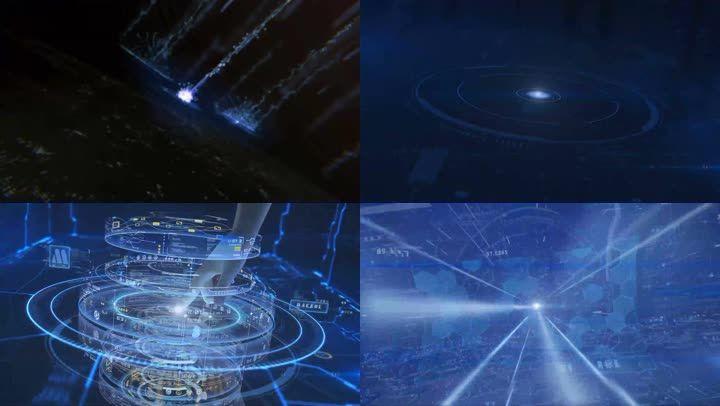 科技图形按钮粒子logo