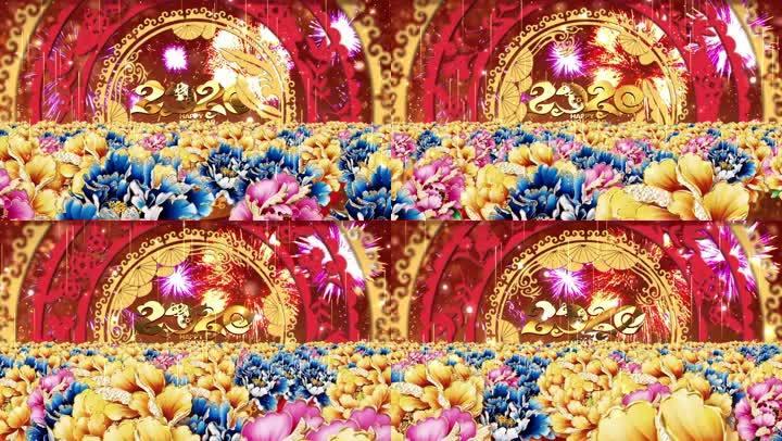 牡丹花海鼠年舞臺背景2
