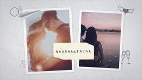 唯美温馨爱情照片展示回忆开场AE模板