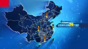 12款科技线条链接中国地图模板AE模板