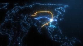科技地图一带一路AE模板