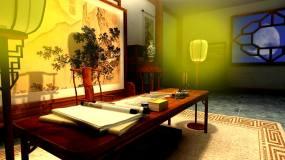 序古代书房灯光背景2视频素材