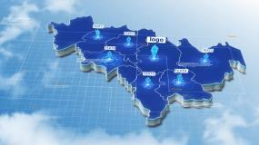 原创吉林省地图模板AE模板