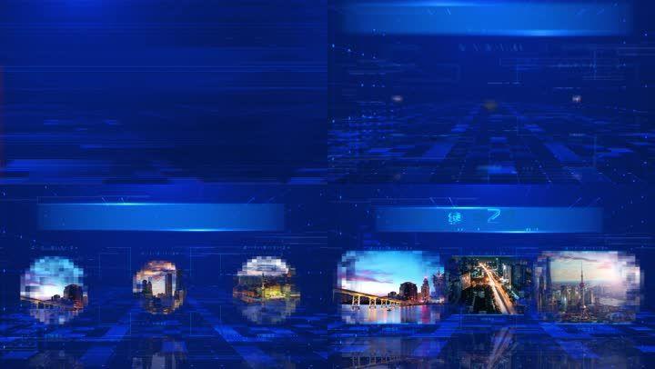 蓝色科技感图文展示模板2