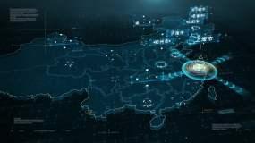 4K上海市地图辐射全国AE模板