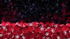 圣诞红色雪花装饰球祝福logoAE模板