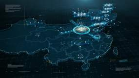 4K太原市地图辐射全国AE模板