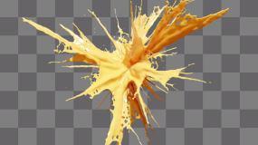 (alpha)黃色液體爆炸-牛奶飲品飲料視頻素材包