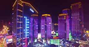 最新4k西宁航拍夜景海湖新区唐道大润发视频素材