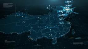 4K哈尔滨地图辐射全国(视频素材)视频素材