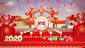 2020鼠年新年春节拜年视频片头prPr模板