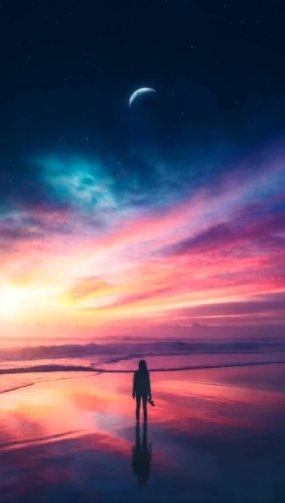 【竖视频】唯美剪影天空之镜视频素材