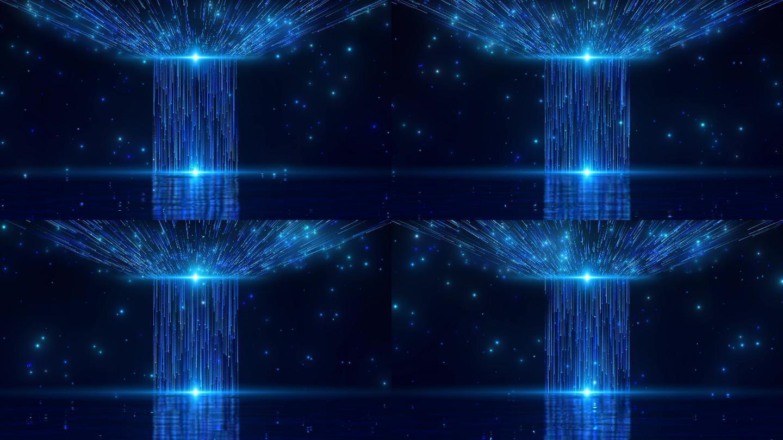 4K梦幻蓝色粒子光线舞台循环