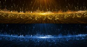金光城市上升粒子背景大屏素材视频素材