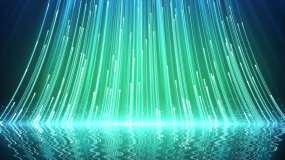 4K蓝绿色光线上升倒影舞台循环背景视频素材