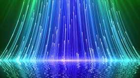 4K三色粒子上升光效倒影舞台背景视频素材