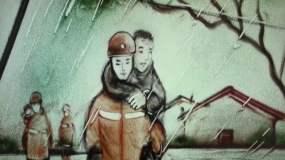 沙画:礼赞,中国消防救援视频素材