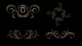 4组花纹生长(鎏金版)带透明通道视频素材包
