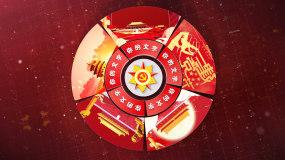 三维红色党政五大多模式饼图AE模板
