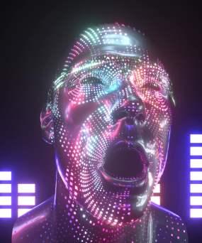 科技炫彩人头艺术视频素材