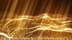 金色大海海洋粒子波浪背景视频素材
