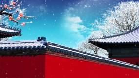 雪满宫墙背景循环视频素材