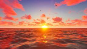 超美云海日出夕阳落下视频素材
