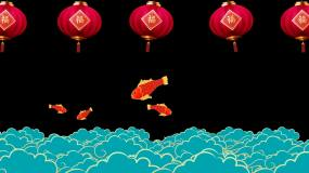 鲤鱼灯笼云海视频素材