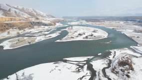 冰河冰原北欧神话冬季河流北国风光视频素材