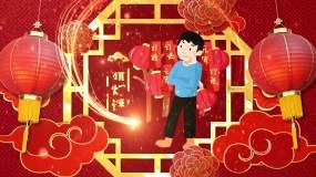 【无插件】2020元宵节喜庆国潮片头AE模板