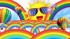彩虹太阳卡通可爱幼儿园LED背景视频视频素材