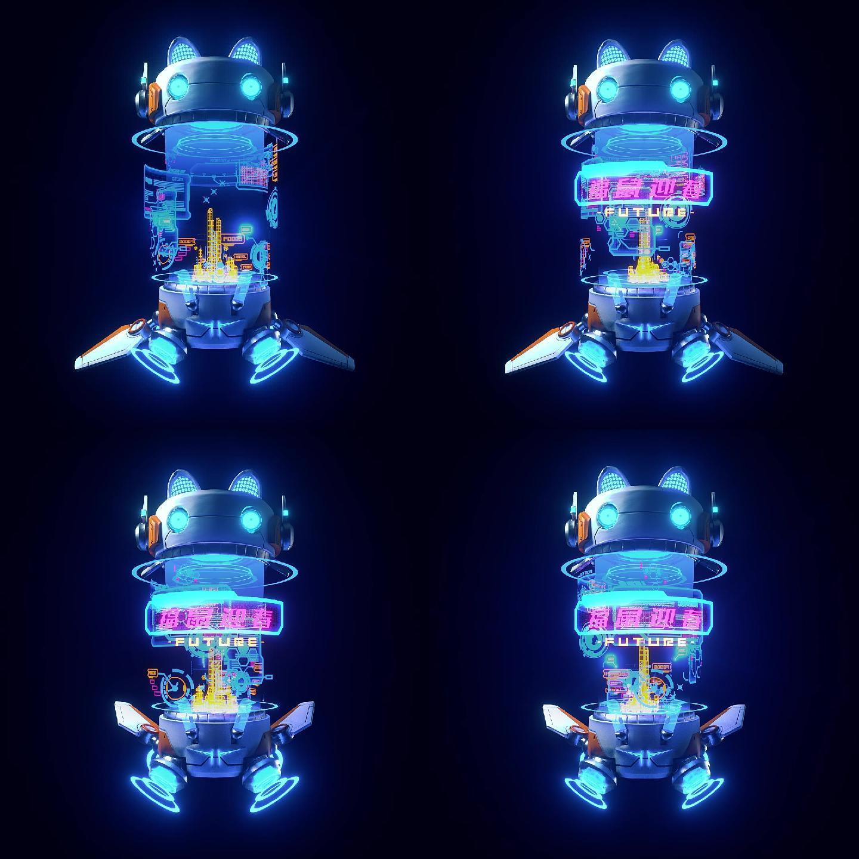 赛博朋克机器人LOGO片头C4D工程