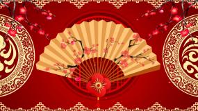 中国风戏曲曲艺相声花瓣梅花扇背景视频视频素材