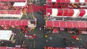4K航拍古城正定迎新年年货大集大庙会之一视频素材
