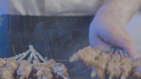 美食烤羊肉烤全羊烧烤蒙古新疆菜视频素材