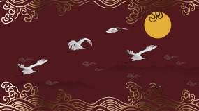 中式国潮海浪仙鹤祥云背景视频素材