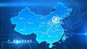 蓝色科技地图辐射展示AE模板