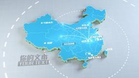 4K简洁干净3D地区位放射中国科技感地图AE模板