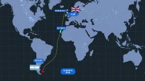 蓝色科技世界地图路线海战AE模板