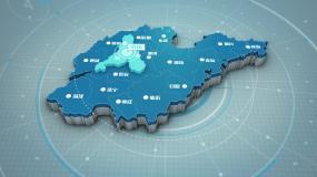 干净简洁明亮科技感风格区位山东地图AE模板