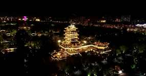 济南大明湖风景区夜飞4K视频素材