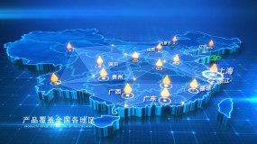 科技点线蓝色地图AE模板