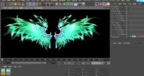 C4D+3dsmax+fbx-绿色翅膀C4D工程