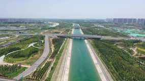 南水北调工程郑州段高清航拍视频素材