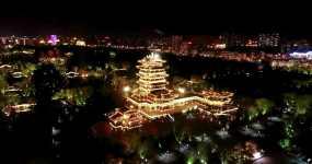 济南大明湖夜飞超然楼4K视频素材